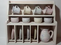 details about japanese asian chinese tea set with storage display shelf pottery rustic
