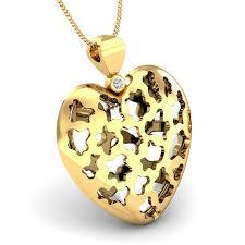 designer heart shape gold pendant