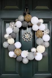 Creative Christmas Wreath Crystal Snowflakes Black Painted Wooden Door  White Grey Brown Wool Snowballs