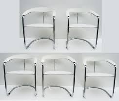 5 mid century iitalian leather tubular chrome chairs stoelen