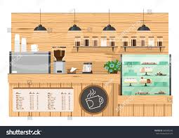 coffee bar. Wooden Coffee Bar, Shop Counter Vector Illustration Bar