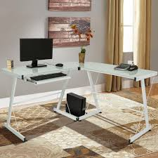 2018 white l shape computer desk pc glass laptop table workstation corner home office from newlife2016dh 66 34 dhgate com