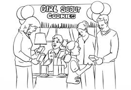 Small Picture Brownie Girl Scouts Selling Cookies coloring page Free Printable