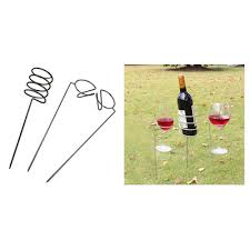 details about wine glass and bottle holders stake set for outdoor garden picnic beach park