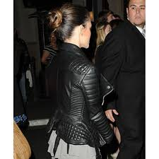 rachel bilson black quilted leather jacket