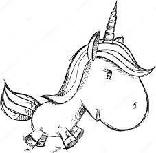 Schizzo Doodle Unicorno Disegno Vettoriale Vettoriali Stock