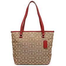 Coach Outline Signature Zip Top Tote Shoulder Bag F55364 True Red