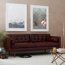 Monroe Mid Century Leather Sofa 80 west elm