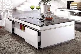 Deco table basse en verre table de salon bois blanc | Amoretti ...