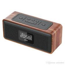 best double alarm clock wooden wireless bluetooth speaker subwoofers lcd noise reduction fm radio with mic multi function