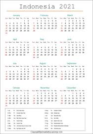 indonesia calendar 2021 with holidays