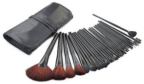amazon bliss grace cosmetics 32 piece makeup kit black finish brushes with fashionable faux leather travel case beauty
