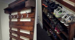 a hallway pallet coat rack and shoe rack that is both good looking and functional awesomejelly com
