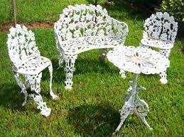 Incredible White Cast Iron Patio Furniture Garden Metal Model U