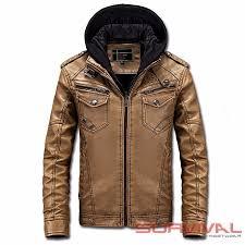 mens leather jacket biker vintage style fleece lined warm detachable hood s m l