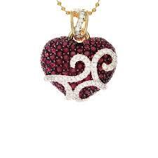 ruby diamond heart pendant in 14kt yellow gold