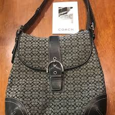 Coach signature soho hobo medium grey purse