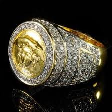 icey medusa head men s gold ring designer jewelry