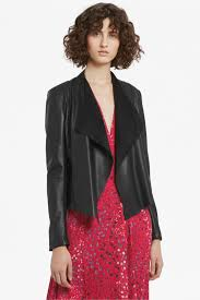 stephanie faux leather waterfall jacket collections french connection