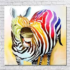 2018 1peices hand made smile zebra oil painting on canvas animal oil painting modern canvas wall art living room decor picture from dafenoilpaintingyeah