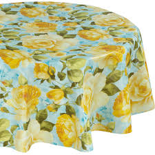 yellow round indoor and outdoor sunflower design table cloth for dining table