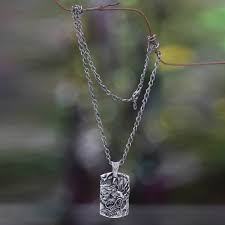 men s silver dragon pendant necklace from bali ancient dragon