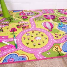 girls pink yellow interactive funfair play mat non slip easy clean kids rugs
