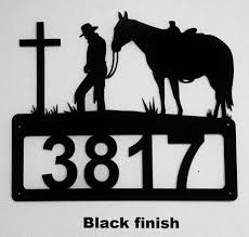 cowboy and cross metal address sign praying cowboy and cross metal house number on praying cowboy metal wall art with western metal art silhouettes southwest cowboy and cowgirl designs