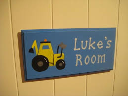 personalised wooden childrens digger bedroom door plaque name sign boys painted