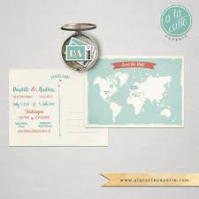 Destination Wedding Bilingual Save The Date Card World Map Card Two