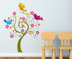 Small Picture 57000129 Wall Stickers Tree with Cute Birds Design for Kids Room