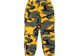 Supreme Pants Size Chart Supreme Warm Up Pant Yellow Camo