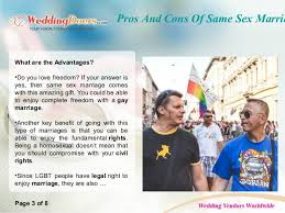 pros and cons of same sex marriage pros