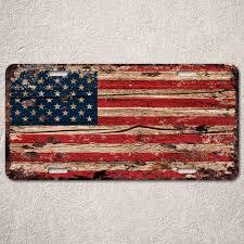 lp0123 american flag auto license plate rust vintage home