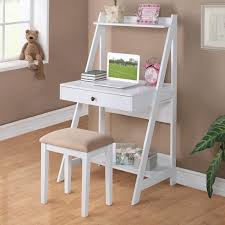 2 pc white student small writing desk and stool w large drawer storage shelves