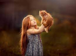 Wallpaper Cute little girl and furry ...