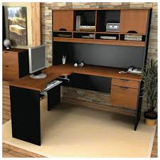 executive l shaped desk with hutch in black and brown with computer set on wooden floor