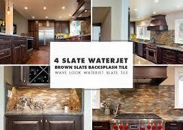 waterjet brown gray slate backsplash ideas