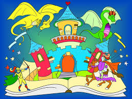 color fairy open book tale concept kids ilration with evil dragon brave warrior and