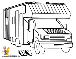 Truck And Camper Coloring Pages Free