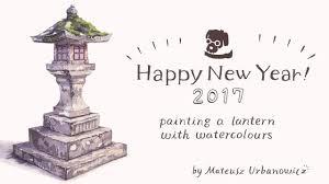 Happy New Year Japanese Lantern Painting