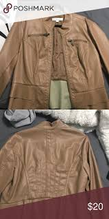 light brown faux leather jacket new york and company light brown faux leather jacket with pleats slightly used good condition new york company jackets