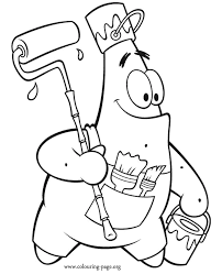 Spongebob Squarepants Patrick Star As A Painter Coloring Page