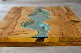 Live edge wood coffee table Waterfall Homedesignjpg Houzz Live Edge Wood Coffee Table With Glass River