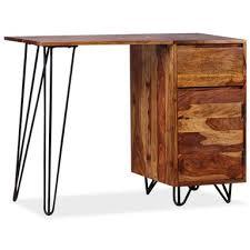 vidaXL <b>Solid Sheesham Wood</b> 1 Drawer Writing Desk | Bunnings ...