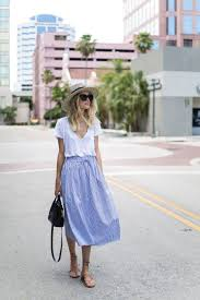 Light Blue Striped Skirt Pin By Timmy Cariñote On Fashion Trends Style Fashion