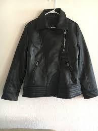black faux leather jacket vg world collection made in italy