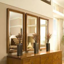 Mirror Design For Living Room Decorations Rectangular Mirrors On Beige Wall Above Rusic Wooden