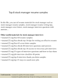 top8stockmanagerresumesamples 150408080003 conversion gate01 thumbnail 4 jpg cb 1428498045