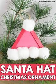 santa hat popsicle stick ornament for